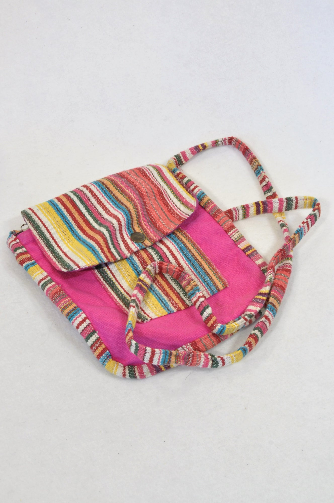Unbranded Pink Stripe Textured Snap Bag Girls 3-14 years