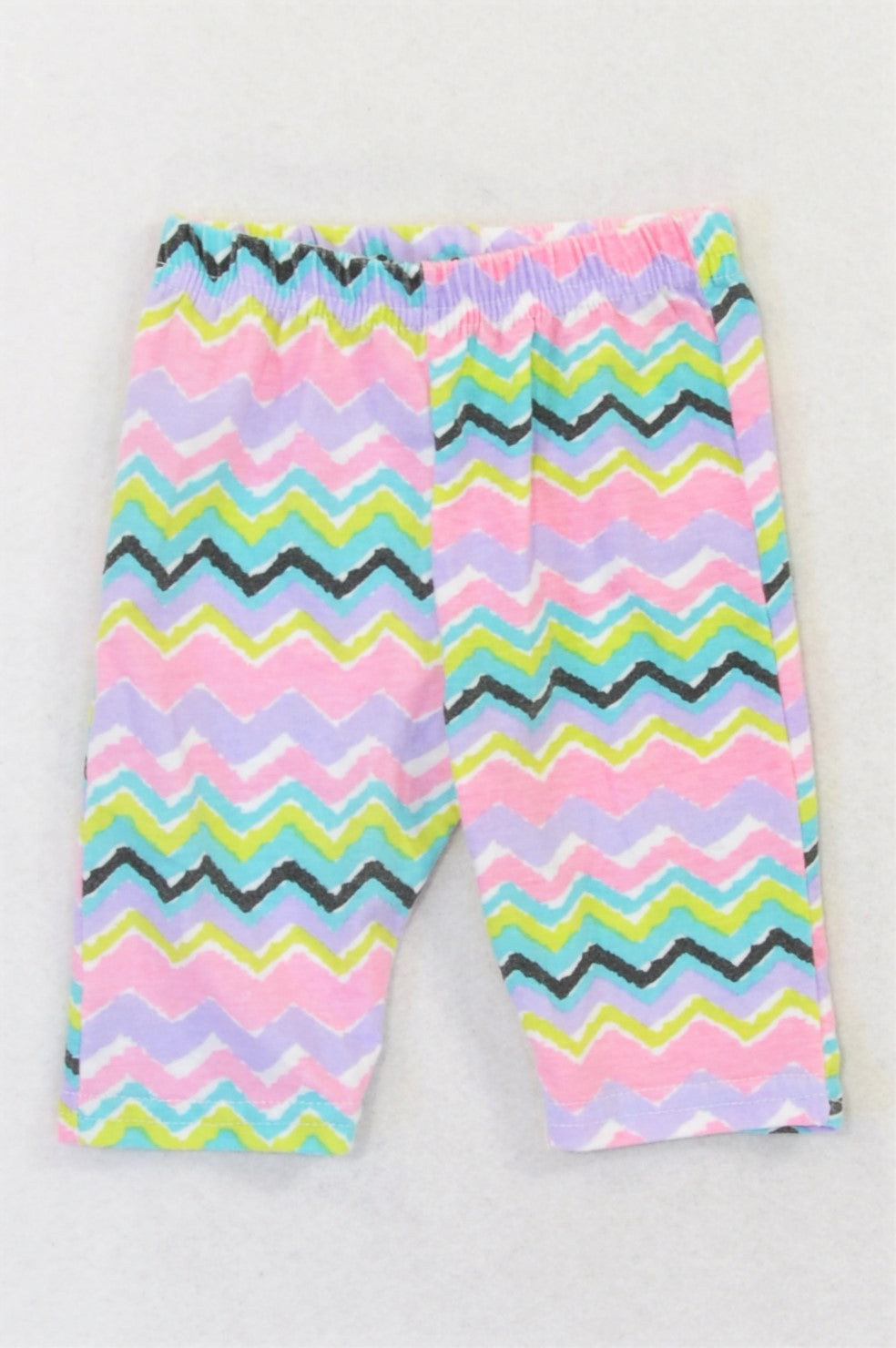 Pep Pink & Purple Zig Zag Watercolour Leggings Girls 3-6 months