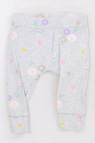 Cotton On Grey Pretty Flower Cuffed Leggings Girls 12-18 months