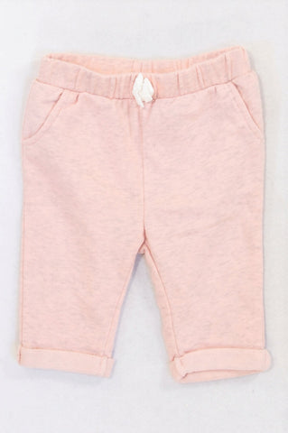 H&M Dusty Pink & Grey Heathered Roll Up Pants Girls 4-6 months