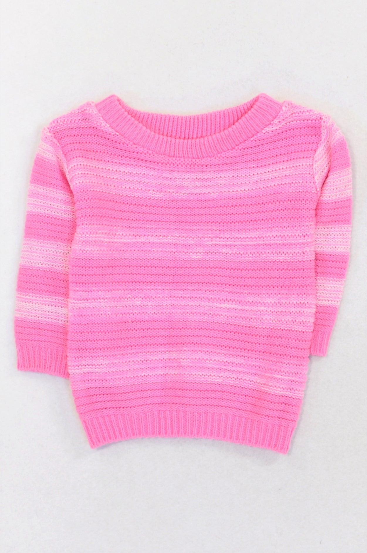 Ackermans Rose Pink & White Knit Lightweight Jersey Girls 3-6 months