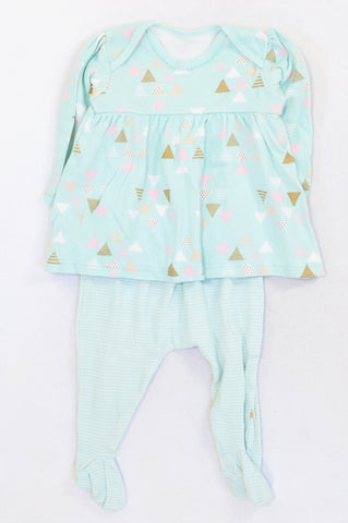 Woolworths Seafoam Triangle Print Dress & Striped Leggings Outfit Girls 6-12 months