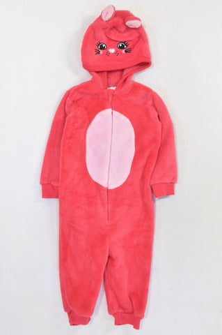 Pep Cerise & Soft Pink Cat Fleece Onesie Girls 18-24 months
