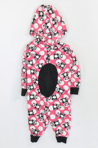 Woolworths Pink & Black Panda Fleece Onesie Girls 6-12 months