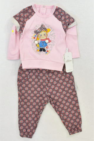 New Aziz Bebe Pink & Maroon Traditional Turkish Girl Lightweight Outfit Girls 9-12 months