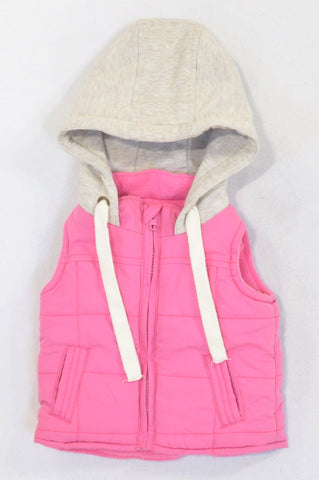 Pick 'n Pay Pink Padded Ivory Hood Body Warmer Girls 3-6 months