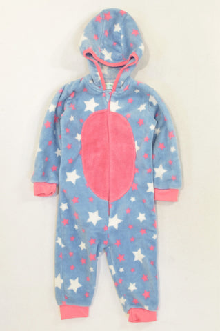 Pep Blue & Pink Star Fleece Hooded Onesie Girls 18-24 months