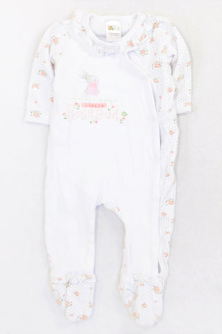 Edgars Peach Floral Dotty RoseBud Onesie Girls 9-12 months
