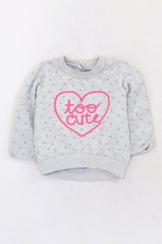 Ackermans Grey Too Cute Silver Heart Pullover Top Girls 6-12 months