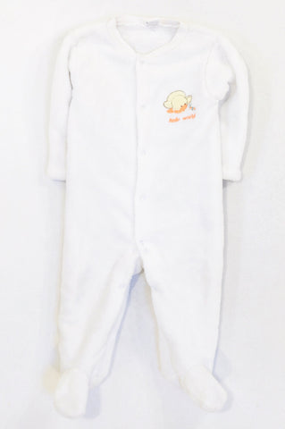 Edgars White Fleece Duckling Hello World Onesie Girls 9-12 months