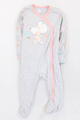 Ackermans Grey & Pink Floral Mouse Onesie Girls 6-12 months