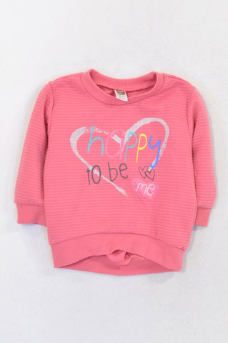Ackermans Pink Ribbed Happy To Be Me Pull Over Top Girls 6-12 months