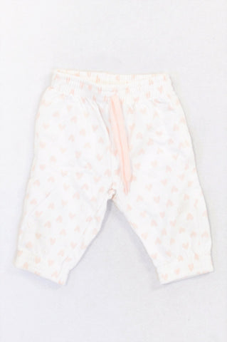 Woolworths Peach Heart Print Pants Girls 3-6 months