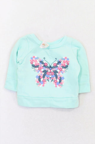 Edgars Seafoam Floral Butterfly Pull Over Top Girls 0-3 months