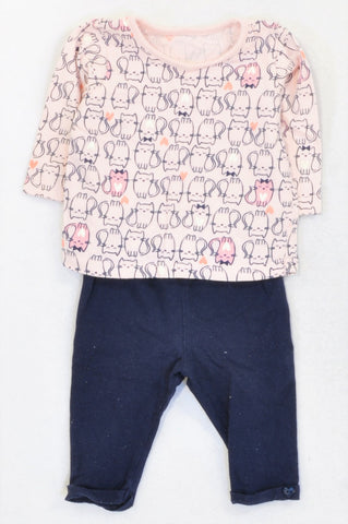 Woolworths Pink Kitten T-Shirt & Navy Leggings Outfit Girls 3-6 months
