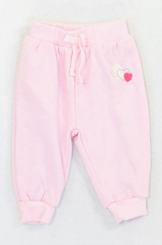 Ackermans Soft Pink Embroidered Heart Pants Girls 6-12 months