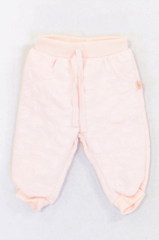 Ackermans Dusty Pink Heart Quilted Pants Girls 3-6 months