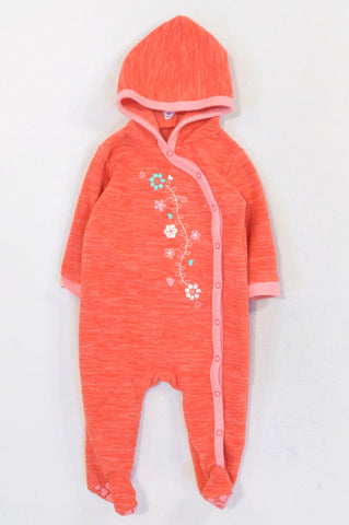 Woolworths Orange Heathered Flower Fleece Onesie Girls 3-6 months