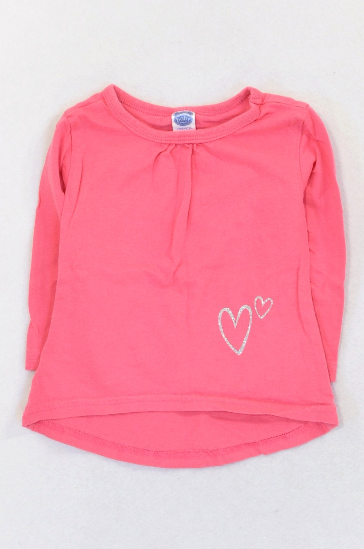 Ackermans Pink Silver Heart High Low T-shirt Girls 3-6 months