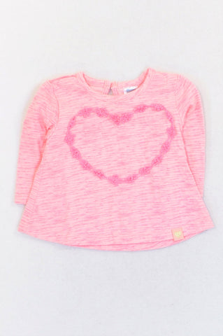 Ackermans Pink Heathered Lace Heart T-shirt Girls 0-3 months