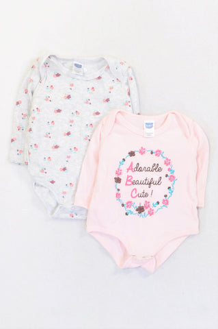 93a104e99 Ackermans 2 Pack Pink ABC   Grey Flower Baby Grows Girls 3-6 months