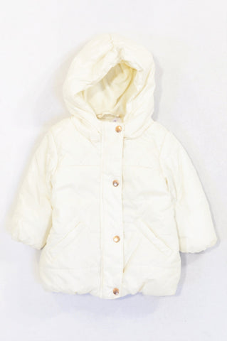 New Woolworths Ivory Quilted Padded Jacket Girls 3-6 months