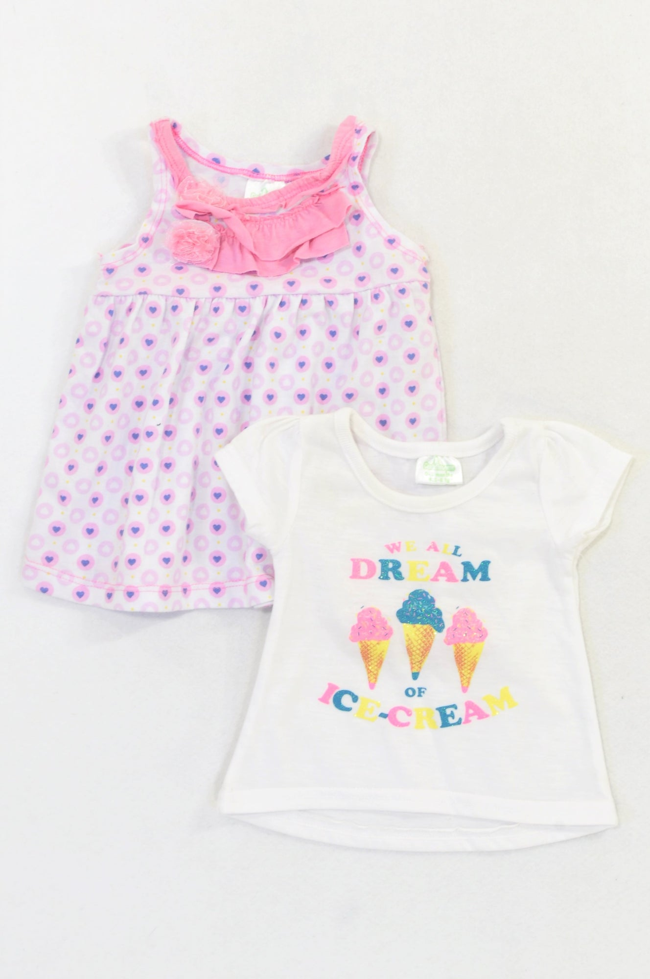 Pep 2 Pack Ice Cream T-shirt & Pink Hearts Ruffle Dress Outfit Girls 0-3 months