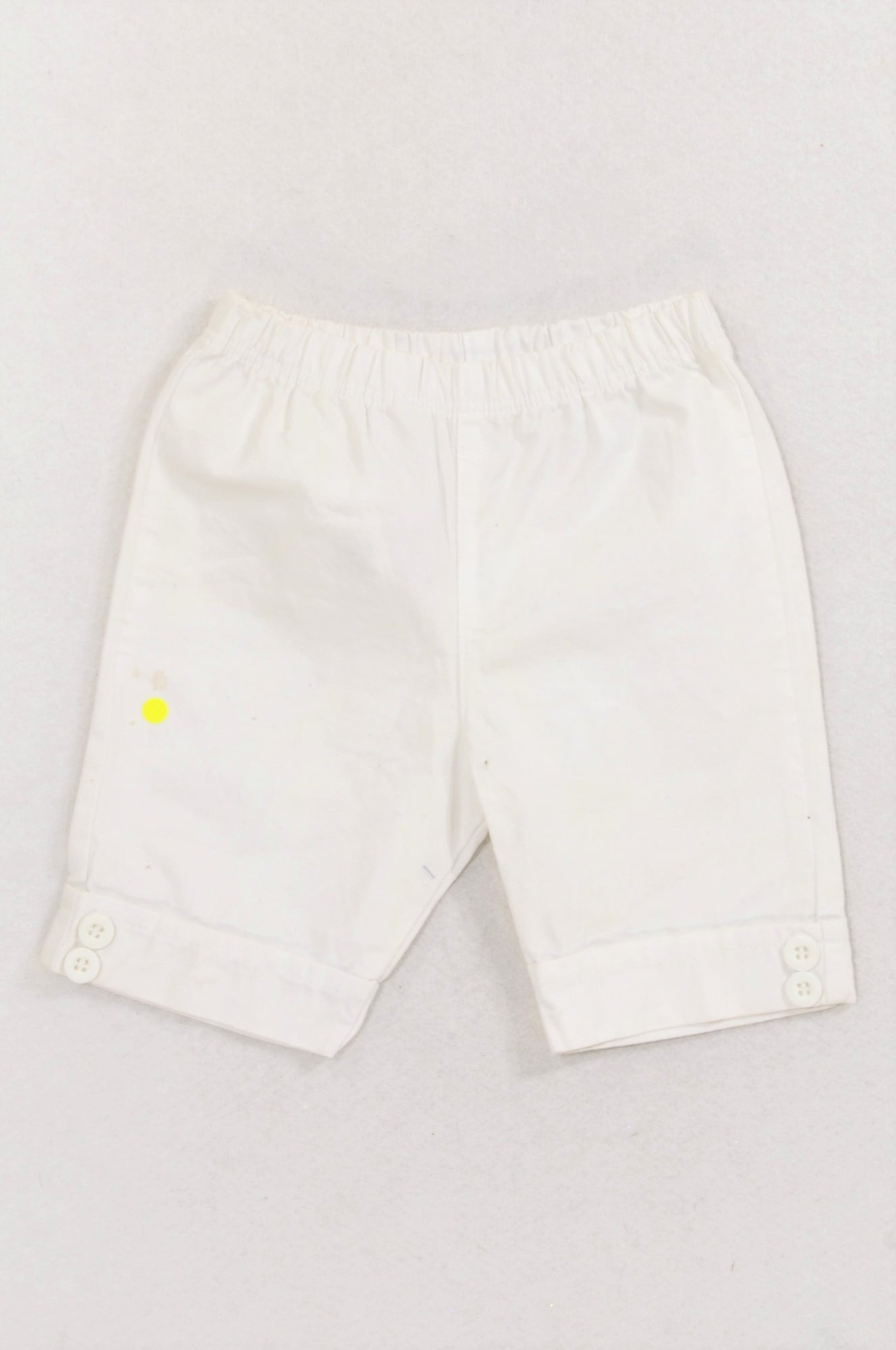 Mothercare Basic White Button Detail 3/4 Pants Girls 3-6 months