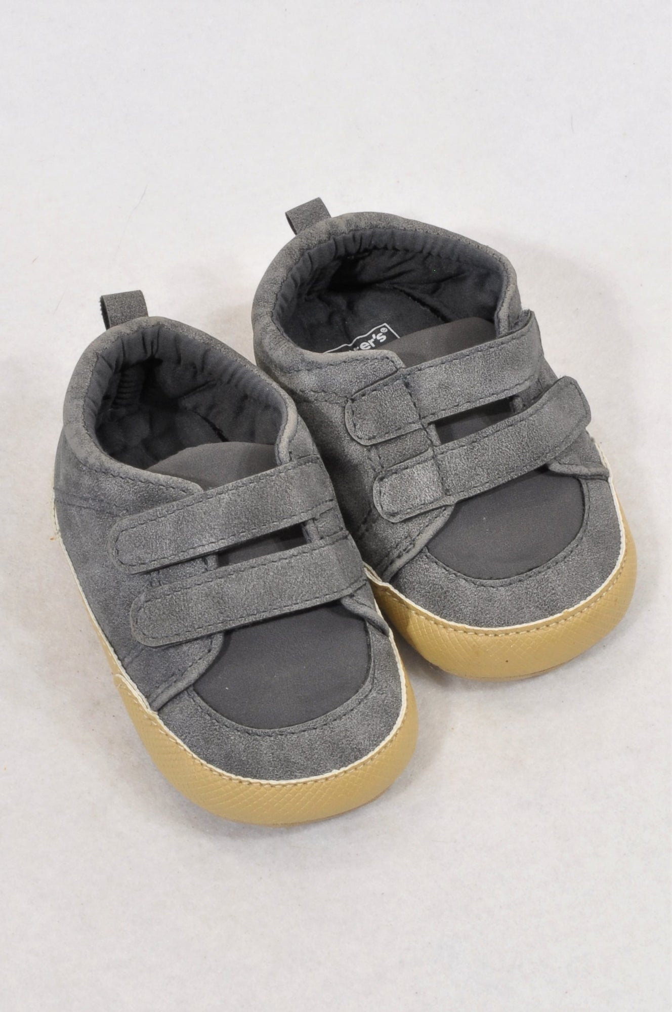 Carter's Size 2 Charcoal Double Strap Shoes Boys 6-9 months