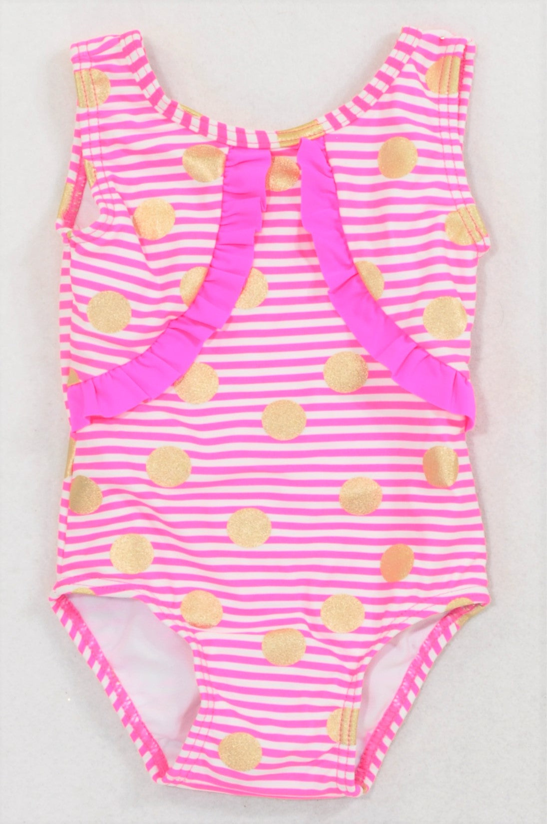 ea8d662213 New Woolworths Lumo Pink Stripe Gold Dotty Swim Suit Girls 6-12 months –  Once More