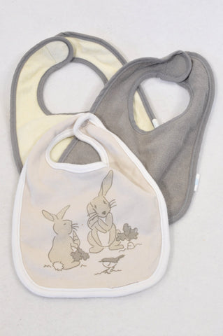 Neat Solutions 3 Pack Neutral & Bunny Bibs Unisex N-B to 1 year