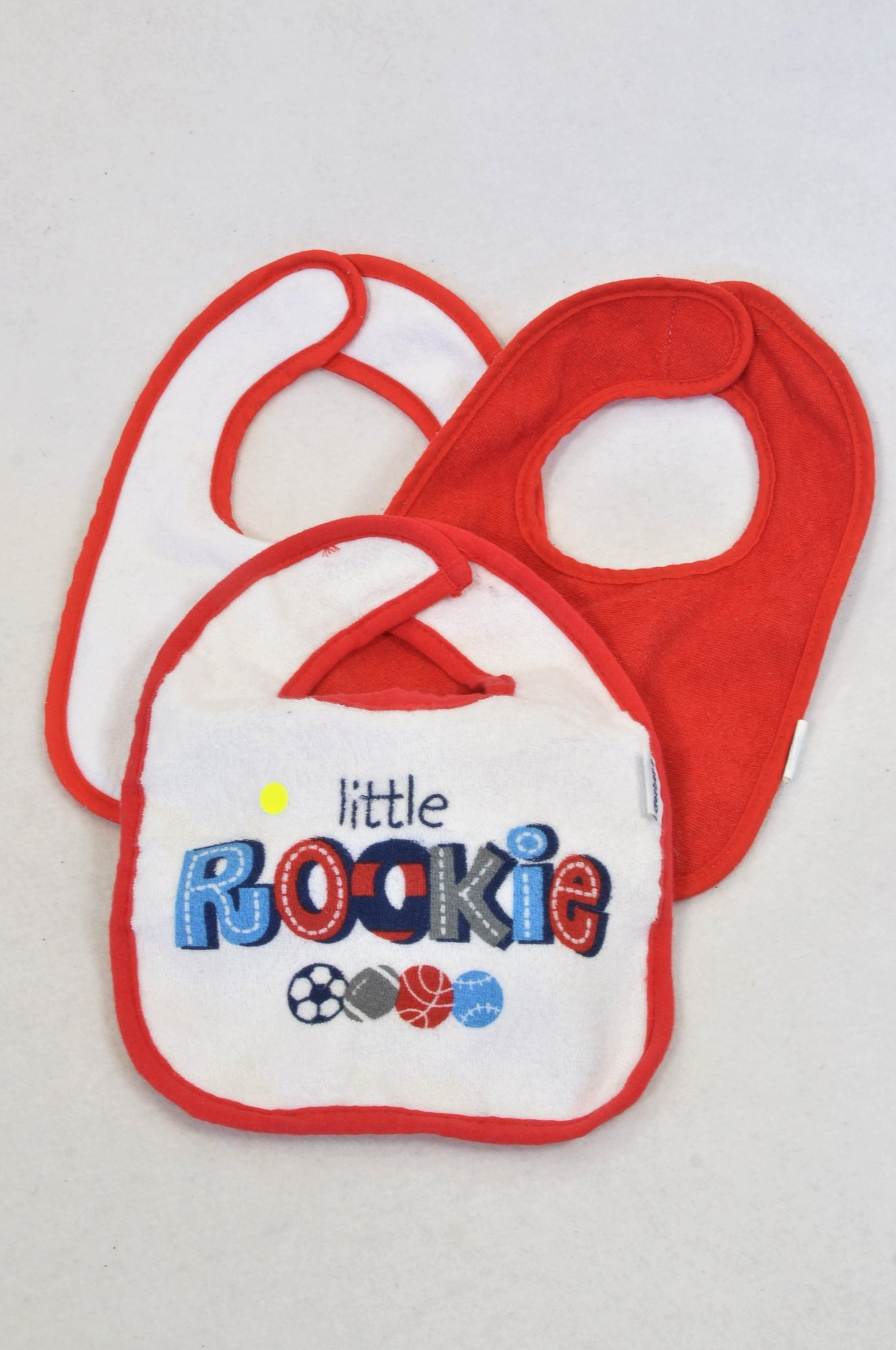 Neat Solutions 3 Pack Red & White Rookie Bibs Unisex N-B to 1 year