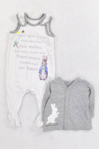 Woolworths  Peter Rabbit White Ribbed Dungarees & Grey Cardigan Outfit Unisex 0-3 months