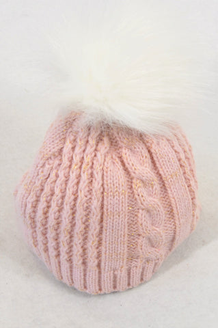 Woolworths Pink Cable Knit Beanie Girls 0-3 months