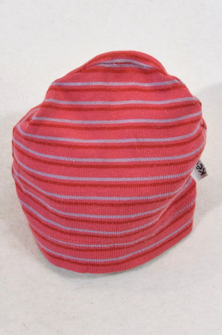 Keedo Red & Grey Stripe Beanie Unisex 6-12 months