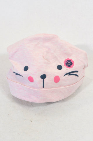 Unbranded Heathered Pink Cat Beanie Girls 6-12 months