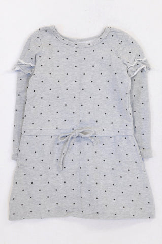 Woolworths Grey Dotty Frill Sleeve Dress Girls 3-4 years