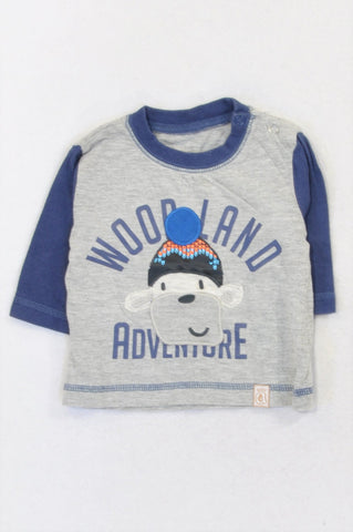 Unbranded Grey & Navy Monkey Beanie T-shirt Boys 0-3 months