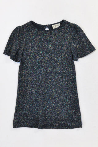 New Next Black Knit Multi Color Glitter Dress Girls 3-4 years