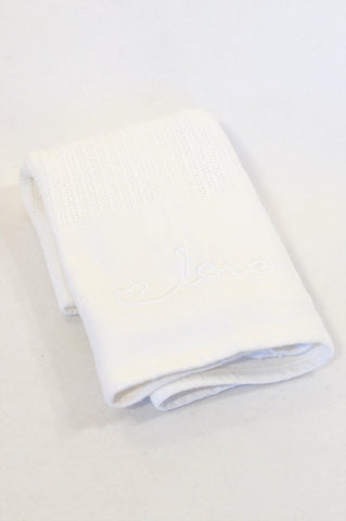 Yeah Baby White Crochet Cellular Blanket Unisex N-B to 2 years