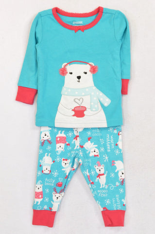 Gymboree Aqua Blue Polar Bear Pyjamas Girls 3-6 months
