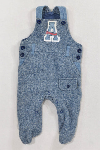 Woolworths Blue Heathered Thick Footed Awesome Dungarees Boys 0-3 months