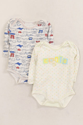 Woolworths 2 Pack Transport & Green Dotty Cutie Baby Grows Boys 3-6 months