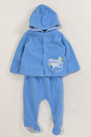 Woolworths Blue Fleece Aeroplane Jacket & Footed Leggings Outfit Boys 3-6 months