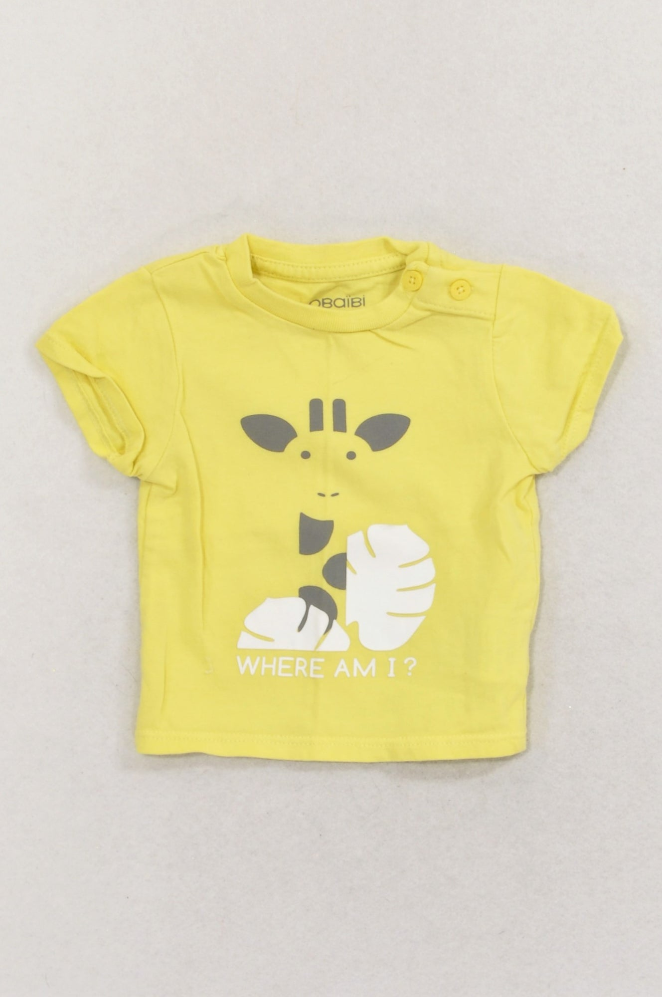 Obaibi Yellow Giraffe Where Am I? T-shirt Unisex N-B