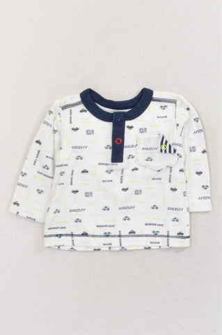 Woolworths Navy Trim Car Pocket Detail T-shirt Boys 0-3 months