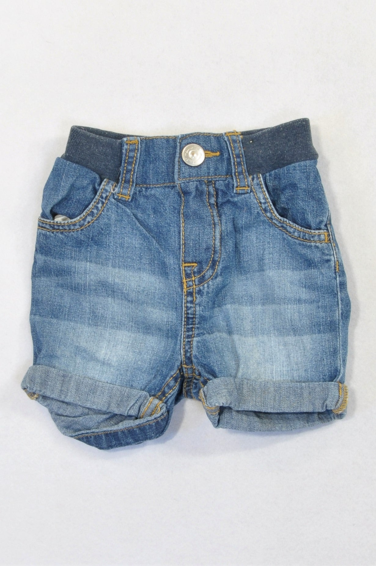 H&M Denim Banded Roll Up Shorts Unisex 4-6 months