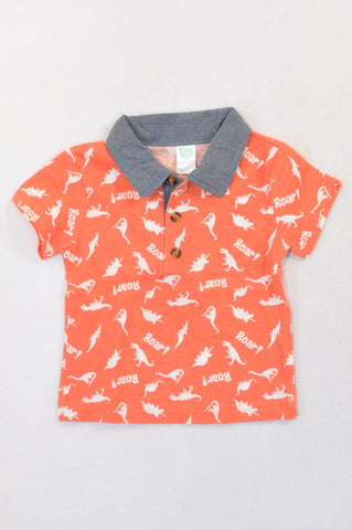 Ackermans Orange Roar Dino Golf T-shirt Boys 3-6 months