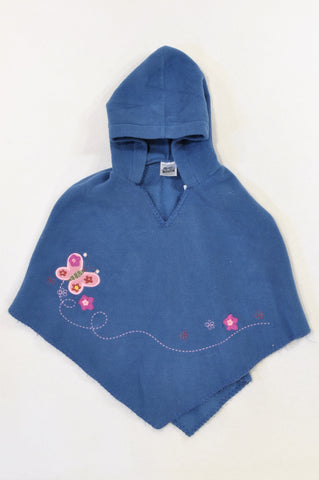 Woolworths Blue Fleece Embroidered Butterfly Poncho Jersey Girls 3-5 years