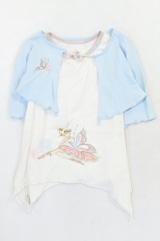 Woolworths Blue Butterfly Lightweight Cardigan & White Fairy Dress Outfit Girls 5-6 years